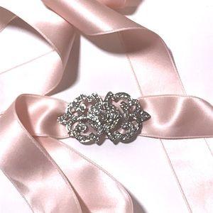 Pink Ribbon & Rhinestone Buckle/Broach